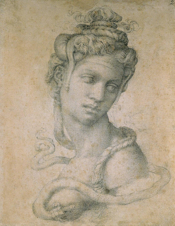 Drawing Poster featuring the drawing Cleopatra by Michelangelo