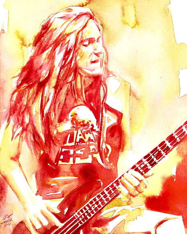 Cliff Poster featuring the painting Cliff Burton Playing Bass Guitar Portrait.1 by Fabrizio Cassetta