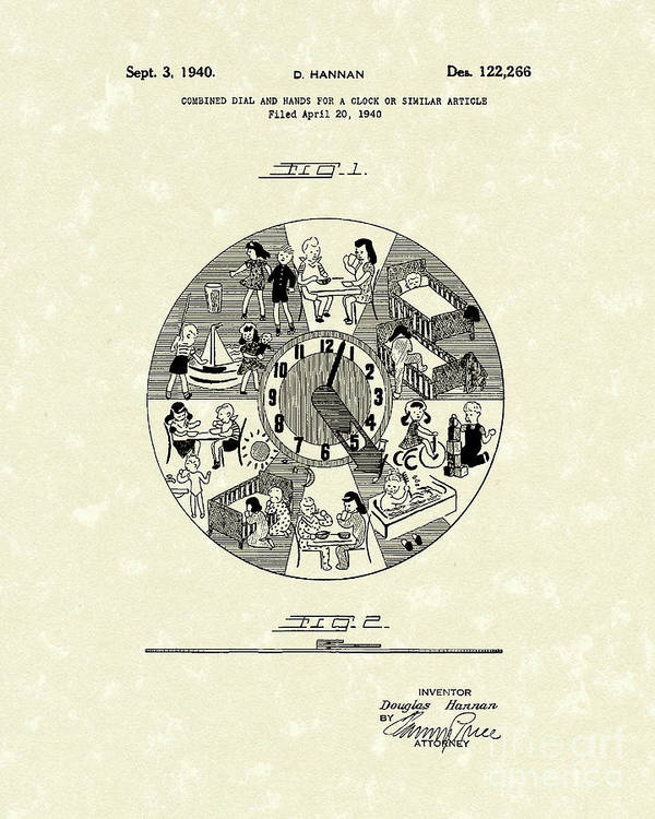 Hannan Poster featuring the drawing Clock Hands 1940 Patent Art by Prior Art Design