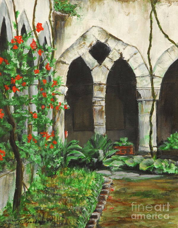 Cloister Poster featuring the painting Cloister Courtyard by Bonnie Peacher