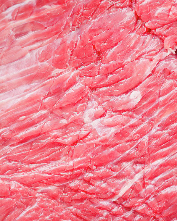 Full Frame Poster featuring the photograph Close Up Of Raw Meat, Studio Shot by Jamie Grill