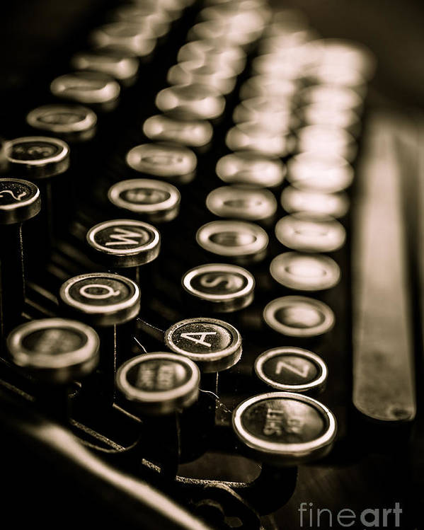 Type Poster featuring the photograph Close Up Vintage Typewriter by Edward Fielding