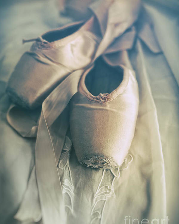 6edc7bff68a30 Accessory Poster featuring the photograph Closeup Of Ballet Shoes On Old Lace  by Sandra Cunningham