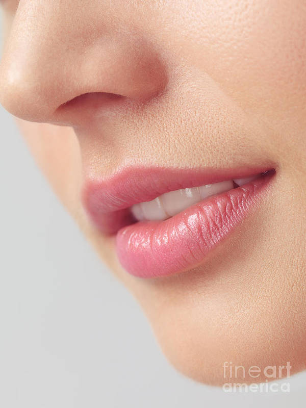 Lips Poster featuring the photograph Closeup Of Woman Mouth With Pink Lips by Oleksiy Maksymenko
