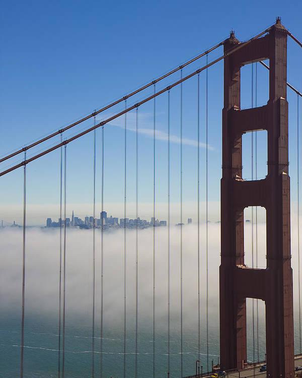 Golden Gate Bridge Poster featuring the photograph Cloud City by Darren Patterson