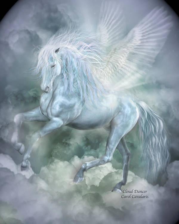 Pegasus Poster featuring the mixed media Cloud Dancer by Carol Cavalaris