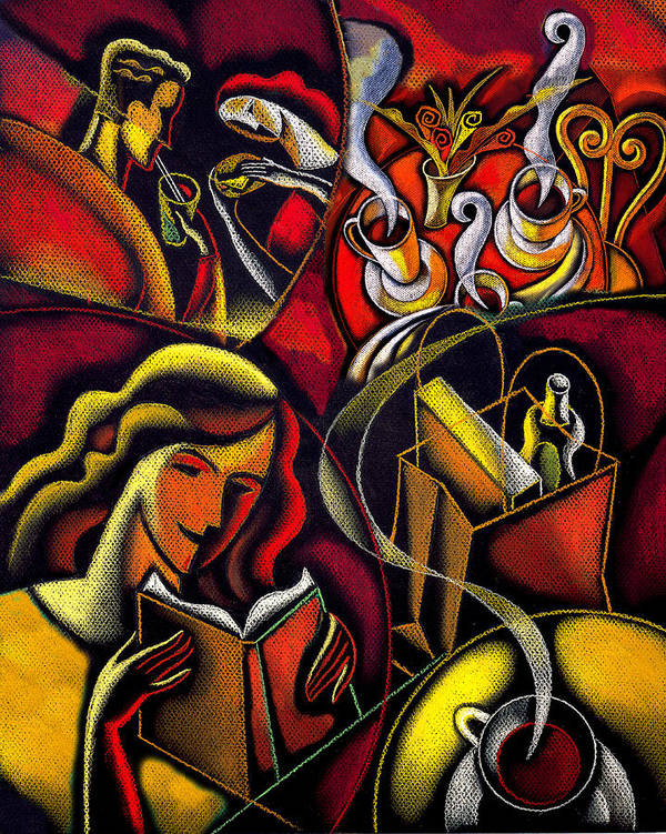 Bohemian Book Cafe Coffee Coffee Break Coffee Cup Coffee House Drink Drinking Fiction Leisure Pastime People Read Reading Refreshment Relax Relaxation Steam Table Tea Woman Poster featuring the painting Coffee Break by Leon Zernitsky