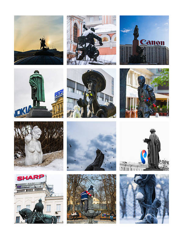 Don Poster featuring the photograph Collage - Moscow Monuments - Featured 3 by Alexander Senin