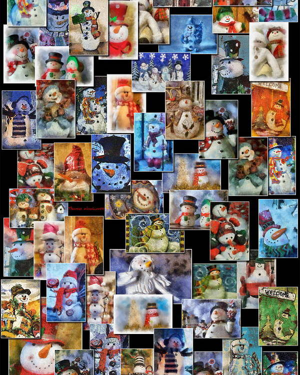 Winter Poster featuring the photograph Collage Snowman Vertical Photo Art by Thomas Woolworth