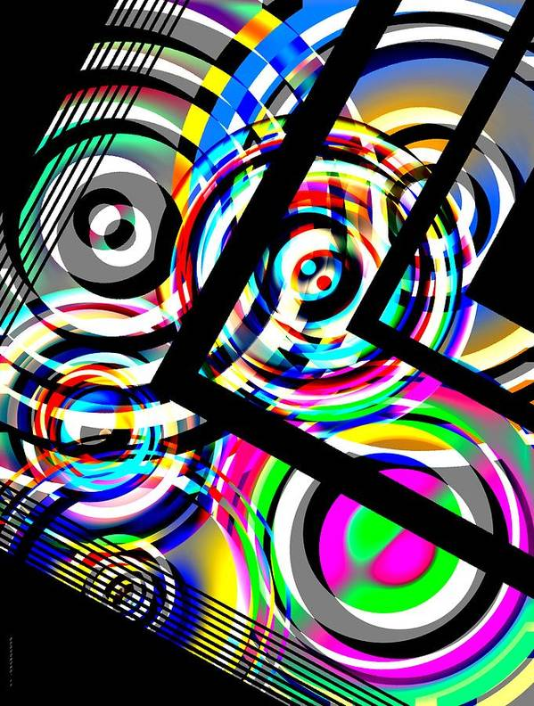 Circle Art Poster featuring the digital art Colored Lines And Circles Art Over Black by Mario Perez