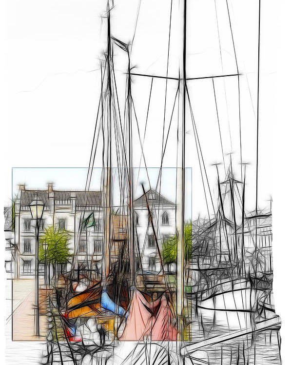 Harbor Weener Germany Old City Sailor Sail Boat Color Black White Colored Past Times Drawing Pencil Art Vintage House  Poster featuring the painting Colored Past by Steve K