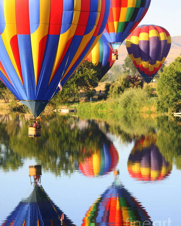Hot Air Balloon Poster featuring the photograph Colorful Balloons Fill The Frame by Carol Groenen