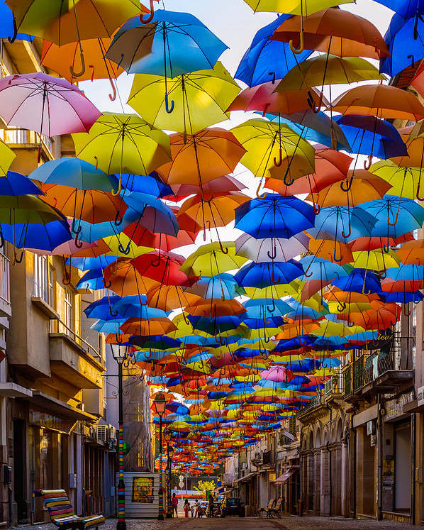 Colorful Floating Umbrellas Poster featuring the photograph Colorful Floating Umbrellas by Marco Oliveira