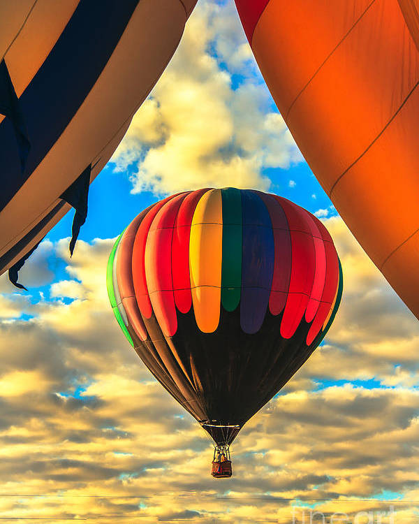 Arizonia Poster featuring the photograph Colorful Framed Hot Air Balloon by Robert Bales