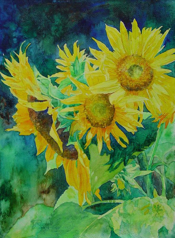 Sunflowers Poster featuring the painting Colorful Original Sunflowers Flower Garden Art Artist K. Joann Russell by K Joann Russell