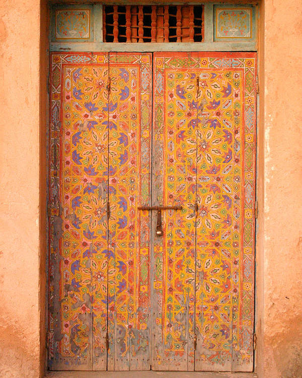 Door Poster featuring the photograph Colourful Entrance Door Sale Rabat Morocco by Ralph A Ledergerber-Photography