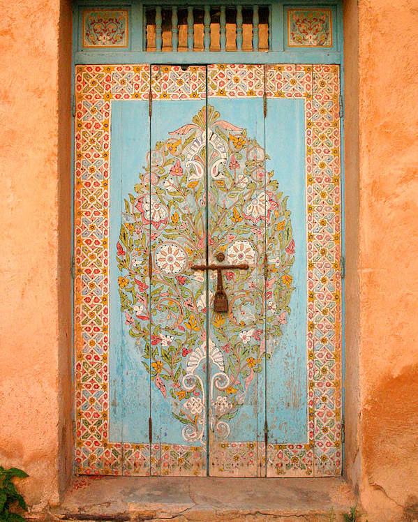 Door Poster featuring the photograph Colourful Moroccan Entrance Door Sale Rabat Morocco by Ralph A Ledergerber-Photography