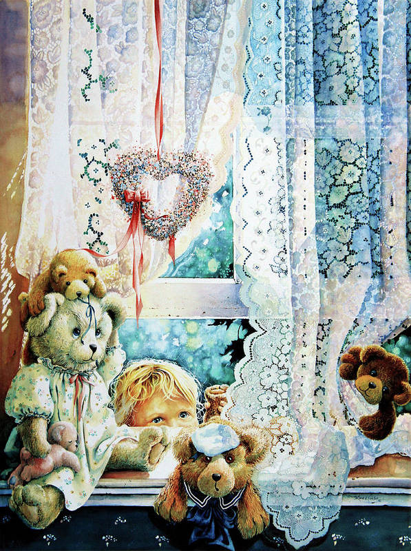 Teddy Bear Poster featuring the painting Come Out And Play Teddy by Hanne Lore Koehler