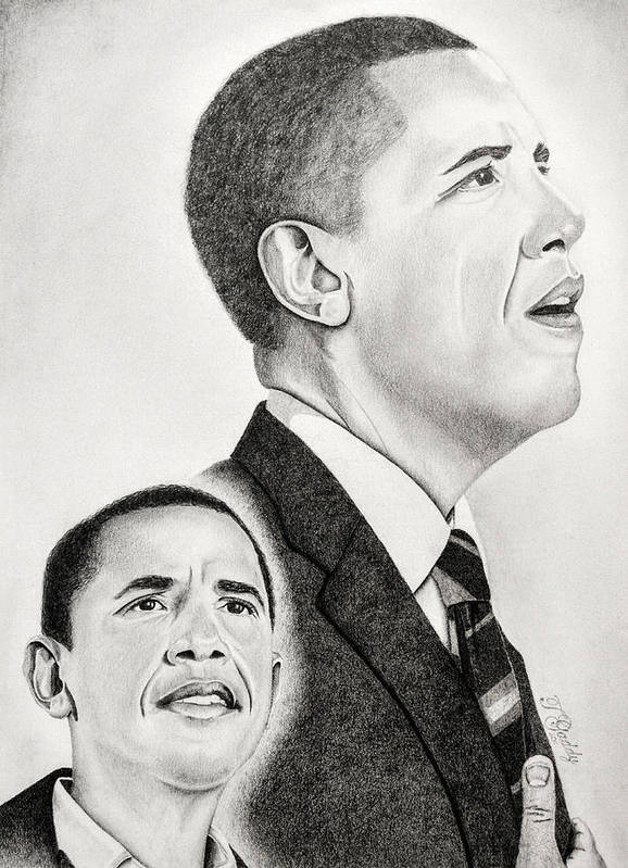 Barack Poster featuring the drawing Commander In Chief by Timothy Gaddy