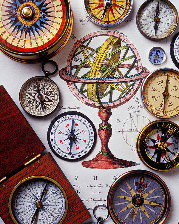 Compass Poster featuring the photograph Compasses And Globe Illustration by Garry Gay