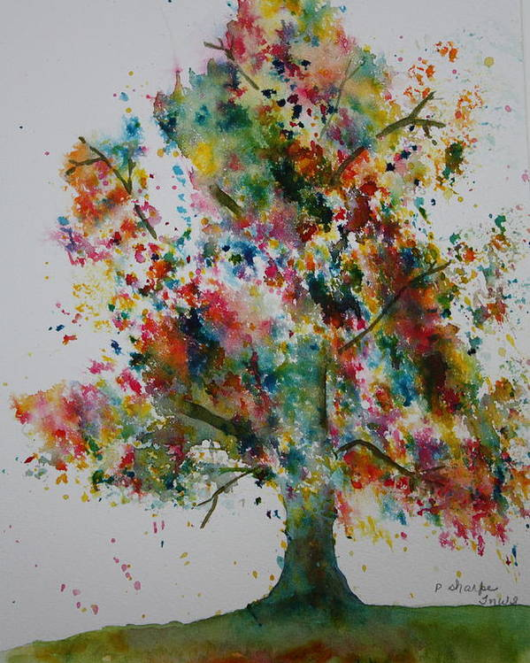 Landscape Poster featuring the painting Confetti Tree by Patsy Sharpe