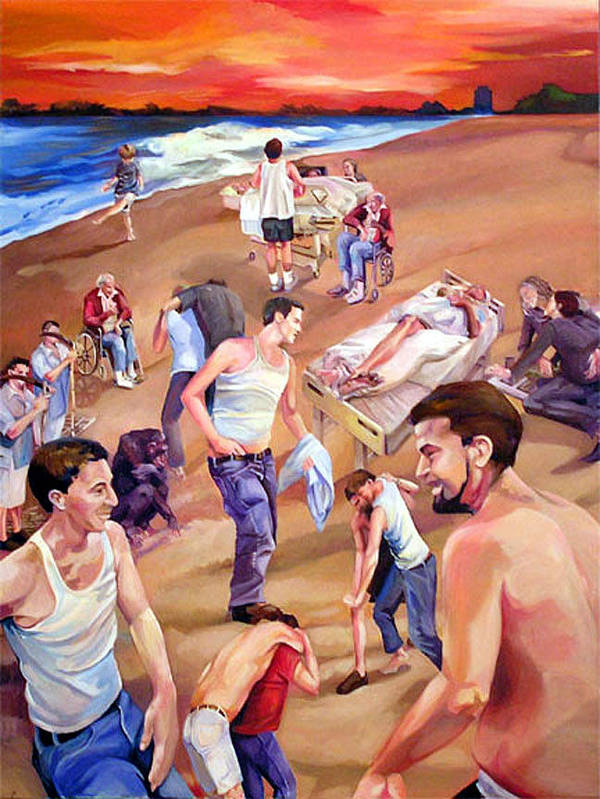 Figurative Poster featuring the painting Confusion At Sunset by Julie Orsini Shakher