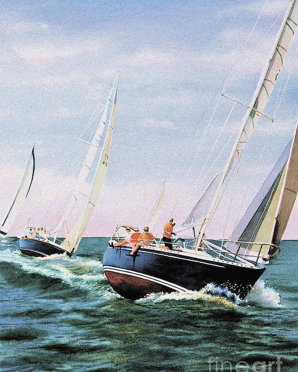 Sailboats Poster featuring the painting Conquistador Cup by Karol Wyckoff
