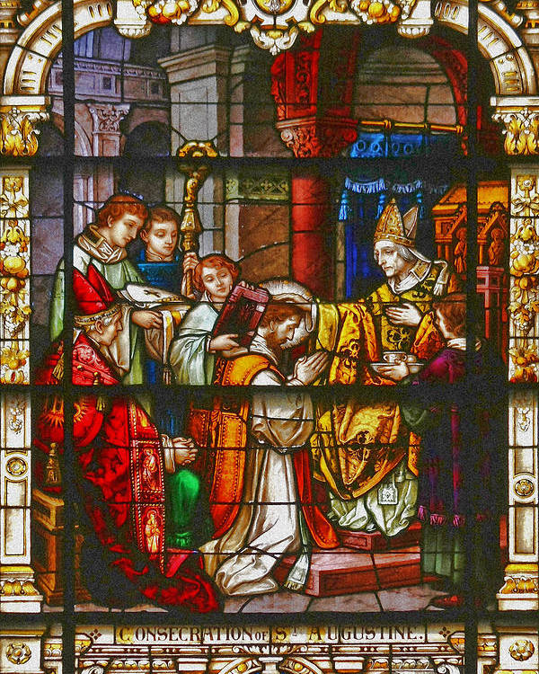 St Poster featuring the photograph Consecration Of St Augustine Stained Glass Window by Christine Till