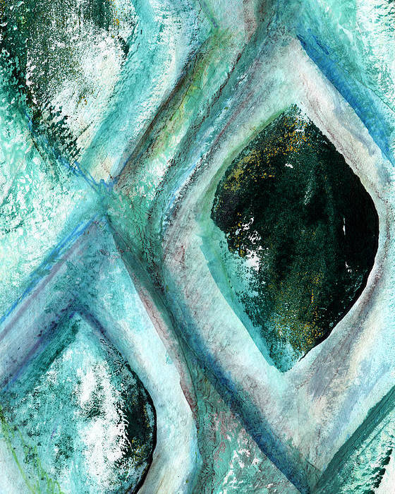 Contemporary Abstract Painting Poster featuring the painting Contemporary Abstract- Teal Drops by Linda Woods