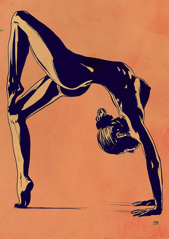 Flip Poster featuring the drawing Contortionist by Giuseppe Cristiano