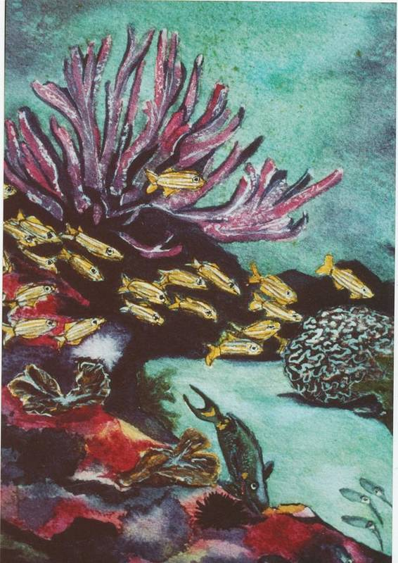 Ocean Poster featuring the painting Coral Reef by Karen j Kobrin Cohen