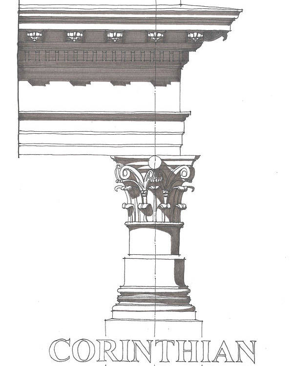 Architecture Poster featuring the drawing Corinithian Order by Calvin Durham