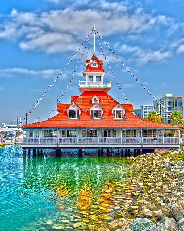 Boat House Poster featuring the photograph Coronado Boat House by Baywest Imaging
