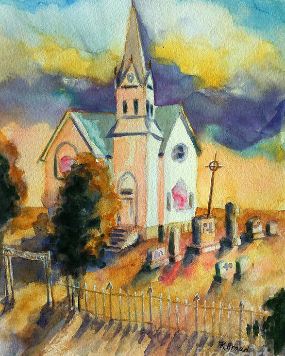Paintings Poster featuring the painting Country Church At Sunset by Kathy Braud