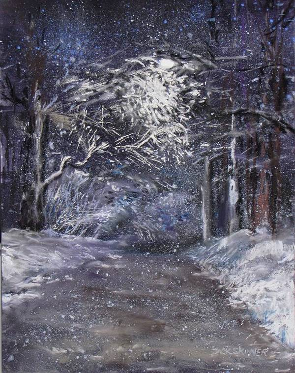 Snow Poster featuring the painting Country Road On A Wintery Night by Jack Skinner