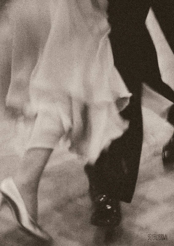 Sepia Poster featuring the photograph Couple Ballroom Dancing Legs by Beverly Brown Prints
