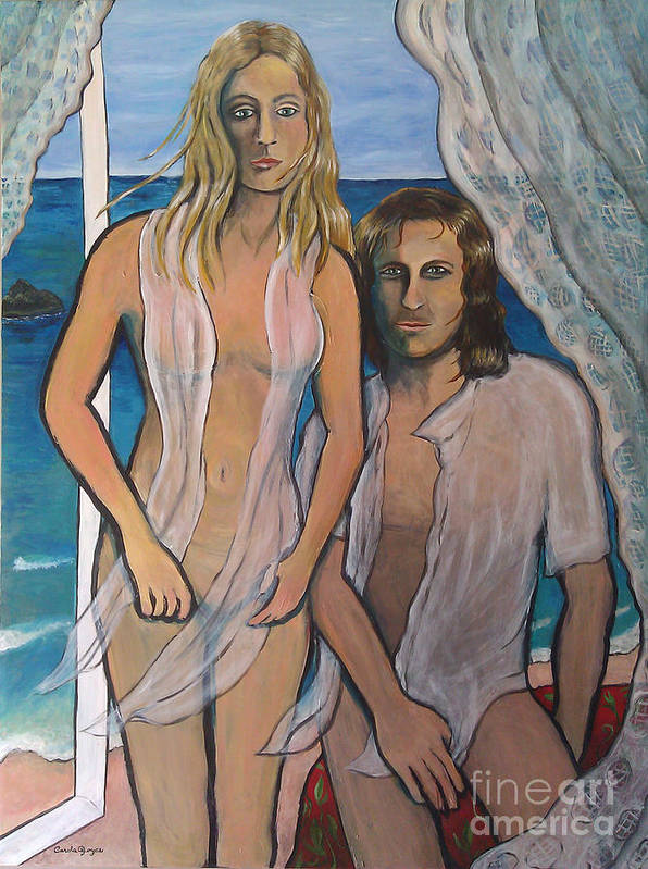 Matrimony Poster featuring the painting Couple In Beachhouse by Carola Joyce