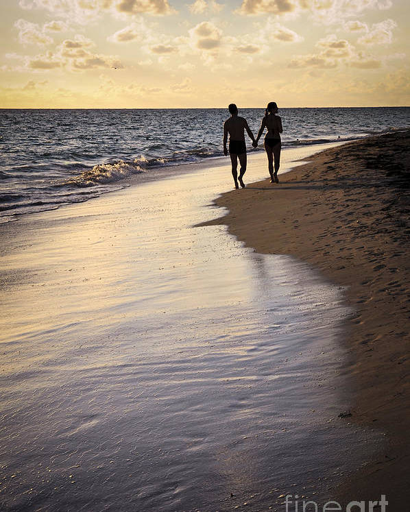 Couple Poster featuring the photograph Couple Walking On A Beach by Elena Elisseeva