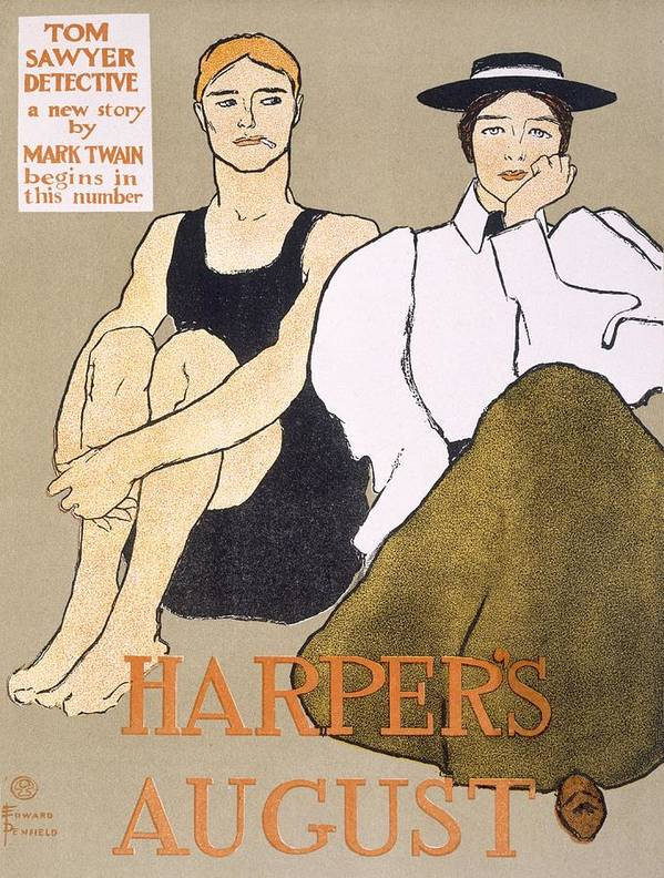 Bathing Costume Poster featuring the drawing Cover Of Harpers Magazine, 1896 by Edward Penfield