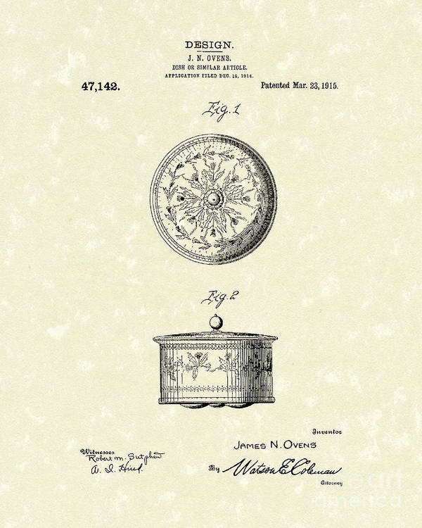 Ovens Poster featuring the drawing Covered Dish 1915 Patent Art by Prior Art Design