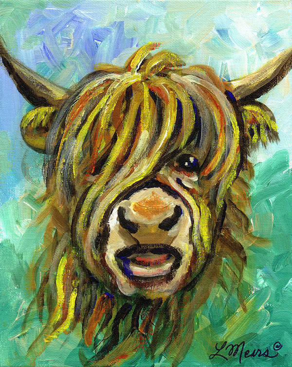 Cows Face Poster featuring the painting Cow Face 101 by Linda Mears