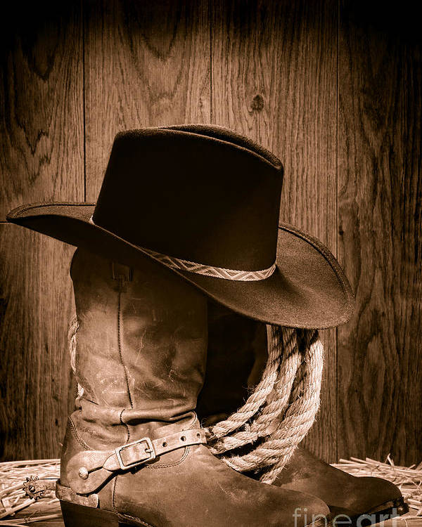 Boots Poster featuring the photograph Cowboy Hat And Boots by Olivier Le  Queinec c287c3da2b4