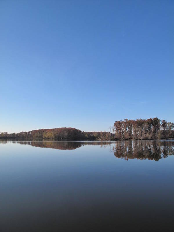Immense Blue Sky Intensifies Crab Orchard Lake's Blue Mood Poster featuring the photograph Crab Orchard Lake's Blue Mood by Frank Chipasula