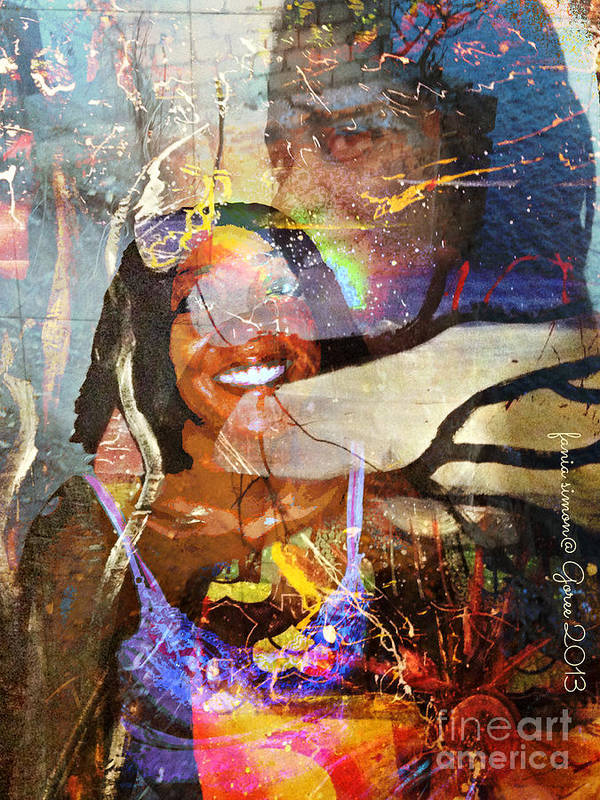 Fania Simon Poster featuring the painting Creolization - Descendants Surviving Tribalism by Fania Simon