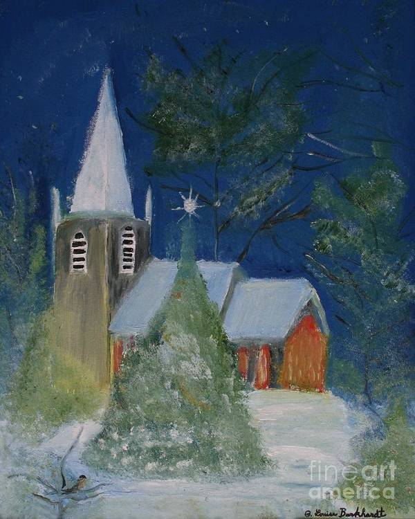Christmas Holiday Scenery Poster featuring the painting Crisp Holiday Night by Louise Burkhardt