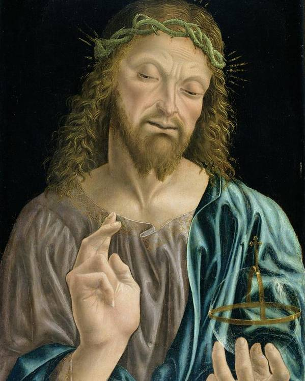 Orb Poster featuring the painting Cristo Salvator Mundi, C.1490-94 by Master of the Pala Sforzesca