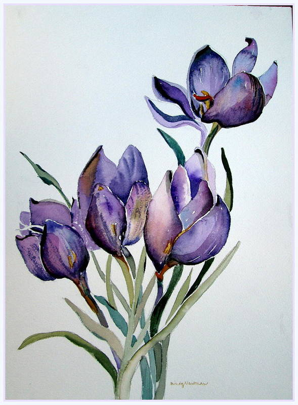 Crocus Poster featuring the painting Crocus In April by Mindy Newman