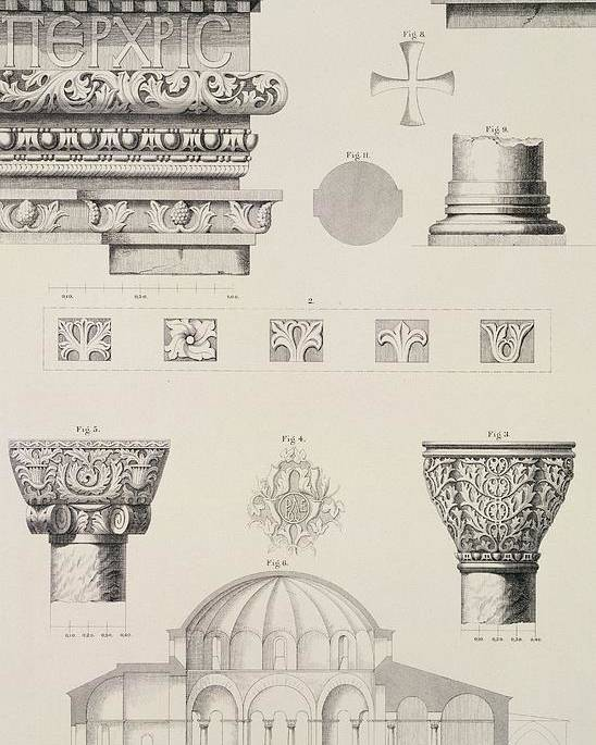 Byzantine; Capitals; Entablature; Decoration; Print; Istanbul; Turkey; Saint; Ss Poster featuring the drawing Cross Section And Architectural Details Of Kutciuk Aja Sophia The Church Of Sergius And Bacchus by D Pulgher