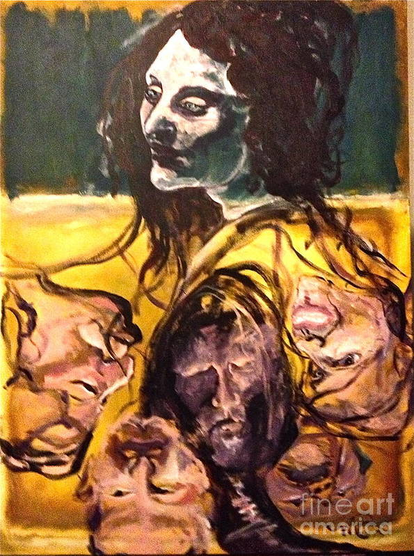 Face Poster featuring the painting Crowded Headroom by Michelle Dommer
