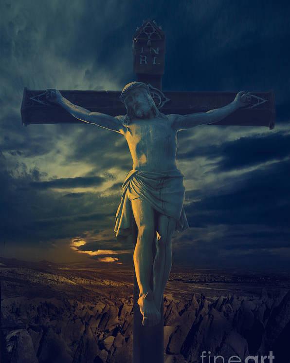 Jesus Poster featuring the digital art Crucifixcion by Jelena Jovanovic